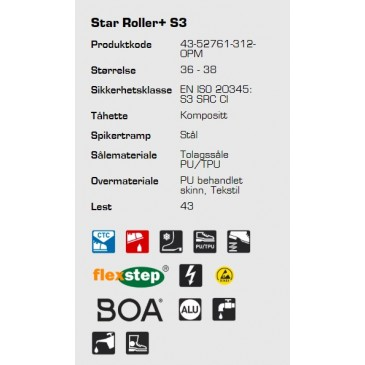Sievi Star Roller+ S3 ESD vernestøvel, informasjon
