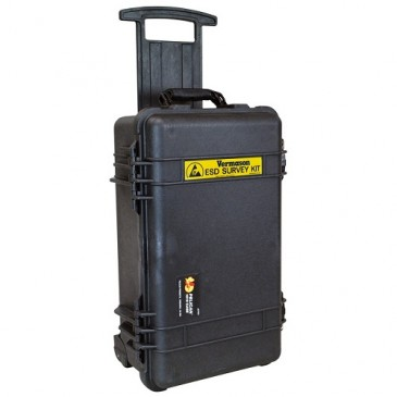 ESD survey kofferten leveres med hjul og trillehåndtak for enkel transport.