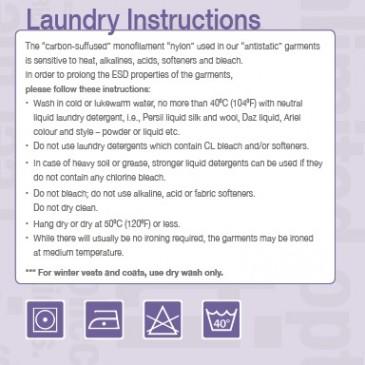 Vaskeanvisning på ESD tøy