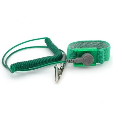 Armbånd med lang spiralsnor og krokodilleklemme, grønn