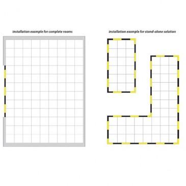 Eksempler på layout på ESD gulvfliser og rampeelementer